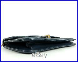 100% Genuine Horse Hair Leather Chain Shoulder Clutch Bag Navy West Germany
