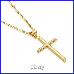 14ct Gold Chain Figaro Cross Jewellery Pendant Necklace for Men, Women withreal