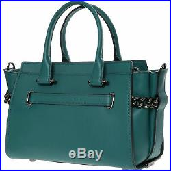 £595 Genuine COACH Swagger 27 Turquoise Leather Chain Shoulder Crossbody Handbag