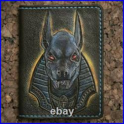 Anubis wallet, Genuine Leather wallet, Chain wallet, Carving wallet