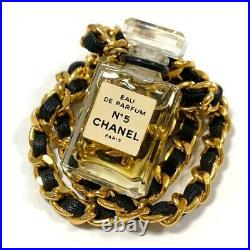 Auth CHANEL NECKLACE N°5 Perfume Bottle Pendant Genuine Leather Chain Ladies
