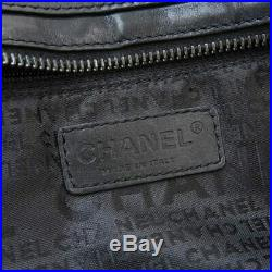 Auth Genuine CHANEL Chanel Chocolate Bar Leather Chain Shoulder Bag Black