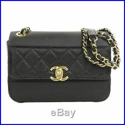 Auth Genuine CHANEL Cocomark 2WAY Chain Shoulder Bag Black 28th Leather