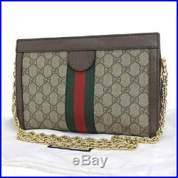 Auth Genuine GUCCI Gucci Ophidia GG Small Chain Shoulder Bag Beige Brown 503877