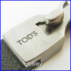 Auth TOD'S Genuine Leather Double Hooks Key Holder Chain Bag Charm Green 16064b