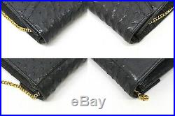 Authentic Genuine Ostrich Leather Chain Shoulder Clutch Second Bag Black Gold