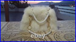 BAG-FROM-REAL-FUR-RENAR-WITH-REAL-LEATHER-STRAP-AND-CHAIN FAST SHIPPING 5-10days