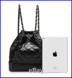 BLACK Quilted GENUINE LEATHER WOMEN FEDNI BACKPACK BAG SILVER GOLD SHOULDR CHAIN
