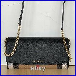 Burberry Women's Wallet Checkered Leather Chain Black New Genuine
