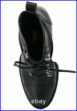 CASADEI Black Women Boots Ankle Genuine Leather Chrome Chain Lacing Luxury Brand