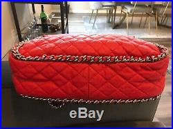 CHANEL Red Leather Chain Around Maxi Bag Authenticated by Real Authentication