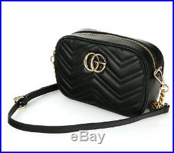 Celebrity Mamon St Gg V-quilted Camera Chain Crossbody Bag Real Cowhide Leather