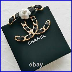 Chanel Auth CC Gold Chain Brooch With Genuine Black Leather & White Camelia, Bow