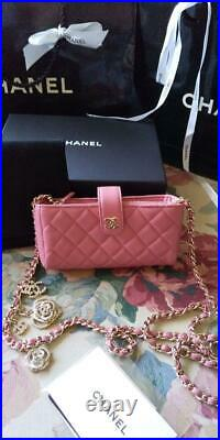 Chanel Valentine day Limited chain Wallet Rare Unused Pink Genuine Free Shipping