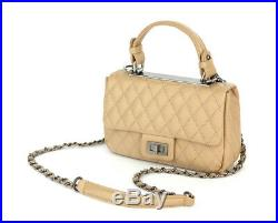 Classic Quilted Coco Sm Top Handle Chain Tote Shoulder Bag Real Cowhide Leather