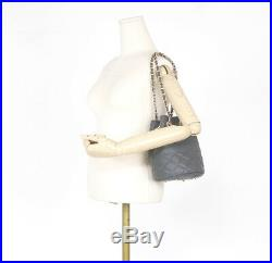 Classic Under Quilted Drawstring Chain Shoulder Bag Real Sheepskin Leather Purse
