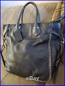 Coach NEW YORK Chain REAL Leather BAG BLACK 15X17X4.5 HANDCRAFTED FINEST