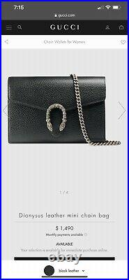 Dionysus Gucci Chain Bag REAL Used Black Leather