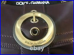 Dolce And Gabbana Genuine Burgundy Leather Gold Chain Buckle Shoulder Bag