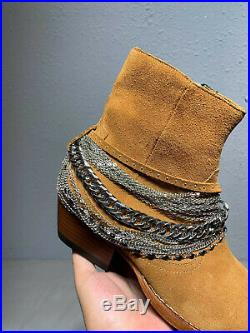 Falection 19ss CALIFORNIA AMIRIMIKE CHAIN LINKS SUEDE GENUINE LEATHER BOOTS