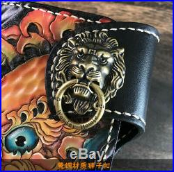 Fashion Genuine Leather hand painted long lion king antique wallet