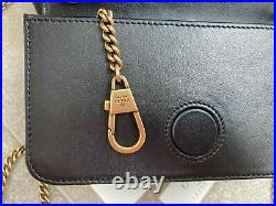 GUCCI Women Beloved Mini Bag Gold GG Chain Black Leather Genuine Made in Italy