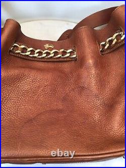 Genuine BURBERRY Brown Tan Leather Gold Chain Belted Shoulder Bag Italy