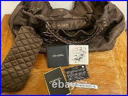 Genuine Chanel Coco Cabas Brown LEATHER BOHO SAC CHAIN PURSE withPOUCHETTE