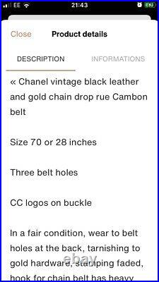 Genuine Chanel Vintage Black Leather Gold Chain Belt Sz 70/28 Inches
