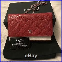 Genuine Chanel Woc Wallet On Chain Red Caviar Leather New Condition Full Set