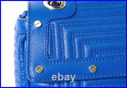 Genuine Gianni Versace Bag Greca Quilted Leather Chain Bag Blue