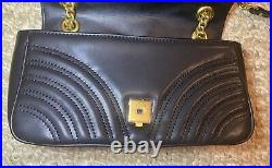 Genuine Leather Crossbody Marmont Bag Black Gold Chain Small