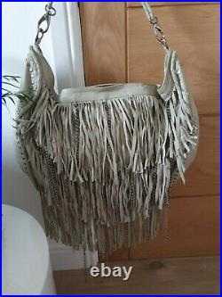 Genuine Leather Large River Island Bag Boho Style with Tassle & chains RRP £180
