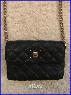 Genuine Marc Jacobs Leather Black Quilted Cross body Bag Gold Chain $750