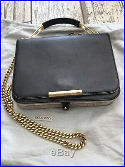 Genuine Navy/Black EMILIO PUCCI Leather Gold chain Bag Exc Cond RRP £1,000