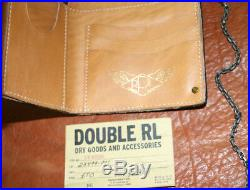 Genuine Ralph Lauren Double RL Cowhide Leather Chained Brass Button Wallet Purse
