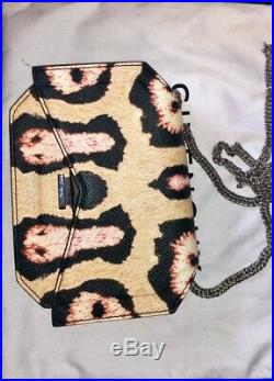 Givenchy Bow Cut Chain Wallet Leopard Print Calfskin Leather 100% Genuine
