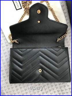 Gucci Genuine Marmont Matelasse Leather Mini Bag Wallet On A Chain Black