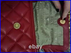 Guess Luxe Quilted Genuine Leather Bag. Red. Tassel. Chain Strap