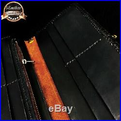Handmade Biker Men's Long Wallet with carved thai carabao Genuine Leather+chain