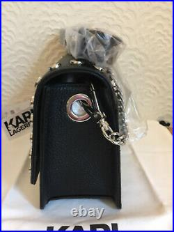 Karl Lagerfeld Crossbody Real Leather bag silver tone studds/chain new with tags