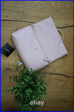 LULU GUINNESS Blossom Issy Lips Clutch Bag Pink Leather Gold Chain GENUINE