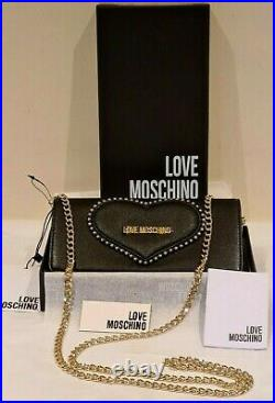 Love Moschino genuine black clutch bag with chain JC5608PP18LF Boxed BNWT