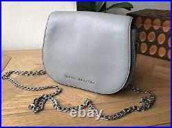 Marc Jacobs grey genuine leather small shoulder bag silver chain strap