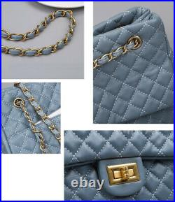 Medium Quilted Real Leather Soft Sheepskin Chain Shoulder Bag Purse Crossbody
