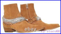 Mens Ankle Chelsea Boot Cuban Mid Heel Genuine Leather Metal Chain Dress British