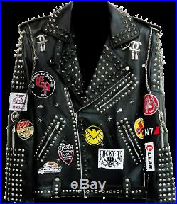 Mens Punk Rock Full Metal Spiked Studded Patches Chain Black Real Leather Jacket