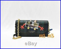 NWT Burberry Henley Leather Genuine Snakeskin check Wallet on a Chain crossbody