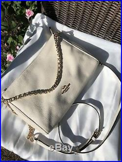 NWT Coach F22212 Carrie Crossbody in Genuine Pebble Leather Chalk