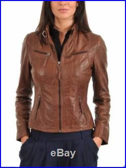 New Leather Jacket For Women Brown Antique Vintage Real Sheep Skin Leather